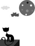Il gatto e la luna Fotografie Stock