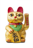 Il gatto fortunato - Maneki Neko che tiene una moneta di Koban Fotografia Stock Libera da Diritti