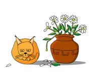 Il gatto ha mangiato i fiori Fotografia Stock