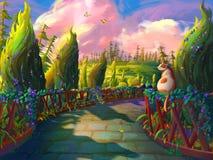 Il gatto nel giardino con stile fantastico, realistico e futuristico illustrazione di stock