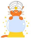 Il gatto predice il futuro con l'illustrazione magica del fumetto della sfera di cristallo royalty illustrazione gratis