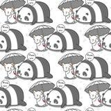 Il gatto senza cuciture ciao il modello del panda royalty illustrazione gratis