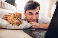 Il gatto si trova su un cuscino a casa vicino al suo padrone con un computer portatile fotografia stock