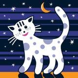Il gatto sta camminando nella notte Immagine Stock Libera da Diritti