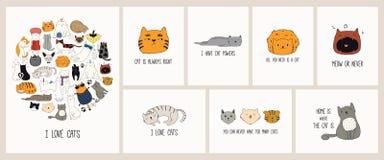 Il gatto sveglio scarabocchia l'insieme di carte illustrazione di stock