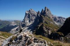 Il geisler di fama mondiale alza nel Tirolo/Val Gardena del sud Fotografia Stock Libera da Diritti