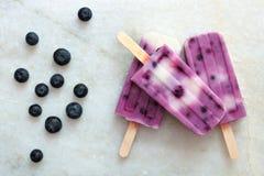 Il gelato alla vaniglia del mirtillo schiocca su marmo bianco Fotografia Stock