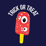 Il gelato di Halloween di scherzetto o dolcetto osserva nel vettore del fumetto Fotografie Stock