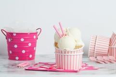Il gelato di Vanillia in un rosa ha spogliato la ciotola Fotografia Stock Libera da Diritti