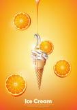 Il gelato nel cono, versa lo sciroppo arancio e molto fondo arancio, vettore trasparente Immagine Stock