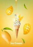 Il gelato nel cono, versa lo sciroppo del mango e molto fondo del mango, vettore trasparente Immagine Stock Libera da Diritti