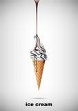 Il gelato nel cono, versa lo sciroppo di cioccolato, vettore Immagini Stock Libere da Diritti
