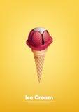 Il gelato rosso nel cono, la fragola, lampone, versa lo sciroppo di cioccolato, vettore Fotografia Stock Libera da Diritti