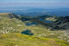 Il gemello, il trifoglio, il pesce ed il lago più basso, i sette laghi Rila, montagna di Rila Fotografia Stock