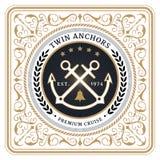 Il gemello nautico ancora la retro carta Royalty Illustrazione gratis