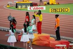 Il Genzebe Dibaba dell'Etiopia ha vinto 1500 metri di medaglia d'oro ai campionati Pechino del mondo di IAAF Fotografia Stock