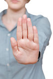 Il gesto di mano del fanale di arresto Fotografia Stock