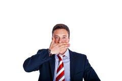Il gestore con la sua bocca si è chiuso Fotografia Stock Libera da Diritti