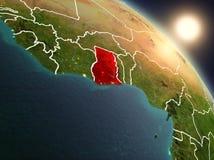 Il Ghana da spazio durante l'alba Fotografia Stock Libera da Diritti
