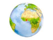 Il Ghana sul globo isolato Fotografie Stock