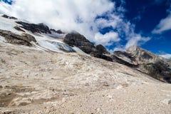 Il ghiacciaio sul picco di Marmolada, dolomia Fotografie Stock Libere da Diritti