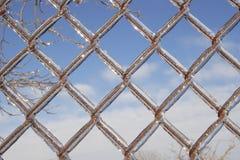 Il ghiaccio ha coperto la rete fissa di collegamento chain Fotografie Stock