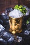 Il ghiaccio nel barattolo di latta è decorato con la menta fotografie stock libere da diritti