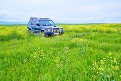Il giacimento della jeep in primavera Immagine Stock