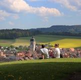 Il giallo del cielo blu delle coppie della natura della Svizzera fiorisce il kolza del canola fotografie stock