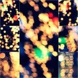 Il giallo della decorazione delle luci ha offuscato l'insieme tonificato d'annata all'aperto del collage di Bokeh di festival di  Fotografie Stock Libere da Diritti