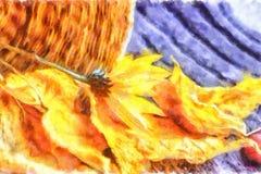 Il giallo di autunno va, bacche rosa selvatiche rosse, topinambur giallo su un fondo strutturato caldo Dell'acquerello vita ancor Fotografie Stock