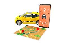 Il giallo elettrico del taxi con una chiamata sullo smartphone con una mappa di itinerario della mappa 3d non rende su fondo bian illustrazione di stock