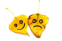 Il giallo va con un'immagine dei fronti felici e tristi isolato Fotografie Stock Libere da Diritti
