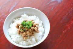 Il giapponese tradizionale ha fermentato la soia su riso di recente cucinato Immagine Stock Libera da Diritti