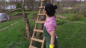Il giardiniere stanco con le cesoie si avvicina a di melo