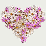 Il giardino del biglietto di S. Valentino dell'estate fiorisce il cuore Immagini Stock