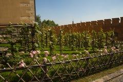 Il giardino del castello reale di Wawel e cattedrale a Cracovia Polonia Fotografia Stock