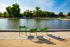 Il giardino di Tuileries, guardante dal grande bacino rotondo, Parigi, Immagine Stock