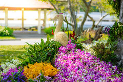 Il giardino floreale è pavone a forma di Immagini Stock Libere da Diritti