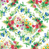Il giardino variopinto fiorisce il modello senza cuciture Fotografia Stock Libera da Diritti