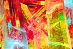 Il gigante ha colorato i cristalli di ghiaccio in giallo e blu rossi Immagini Stock Libere da Diritti