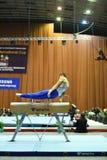 Il ginnasta che esegue sopra prende a pugni il cavallo Immagini Stock