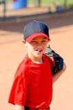 Della piccola lega del giocatore di baseball fine su Fotografie Stock Libere da Diritti