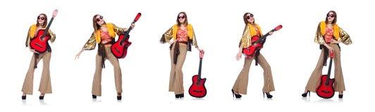 Il giocatore di chitarra alto isolato su bianco Fotografie Stock