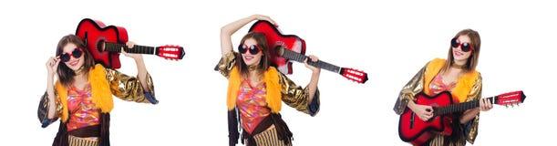 Il giocatore di chitarra alto isolato su bianco Immagini Stock Libere da Diritti