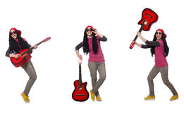 Il giocatore di chitarra del hipste su bianco Immagine Stock