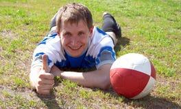 Il giocatore di football americano. Fotografia Stock