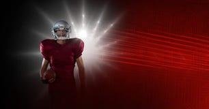 Il giocatore di football americano con lo stadio accende la transizione fotografia stock