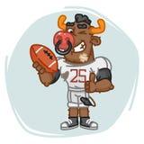 Il giocatore di football americano del toro giudica i pollici di manifestazioni della palla alti e sbatte le palpebre illustrazione di stock