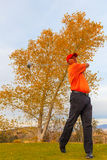 Il giocatore di golf porta a compimento da azionamento Fotografie Stock Libere da Diritti